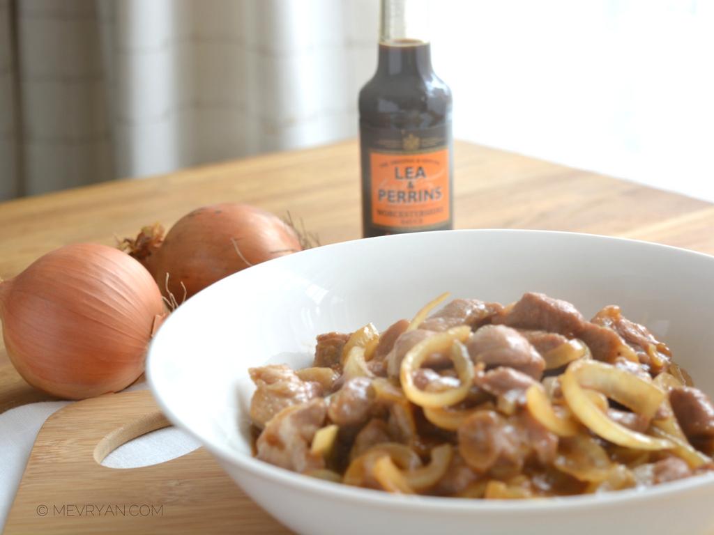 Foto schouderkarbonade met Worcestershire saus