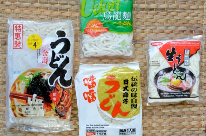 Foto 4 verschillende instant udon noedels