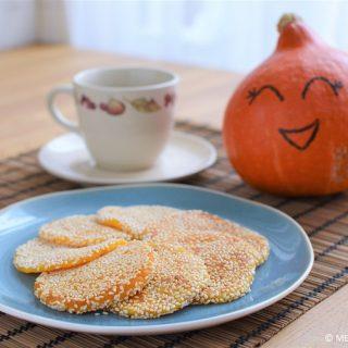Gebakken pompoen sesam koekjes © MEVRYAN.COM, lekker Aziatisch koken
