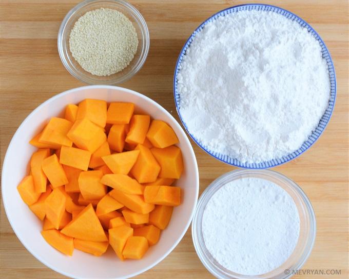Foto ingrediënten Pompoen sesam koekjes © MEVRYAN.COM, lekker Aziatisch koken