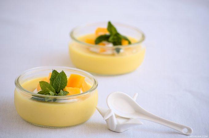 Foto mango pudding, tropisch dessert