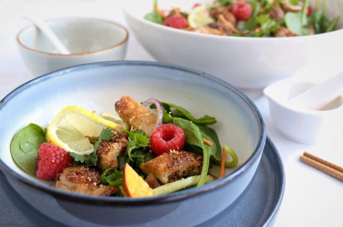 Foto Thaise kip salade met frambozen dressing © mevryan.com