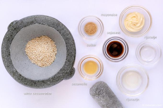 Foto ingrediënten Japanse sesam saus